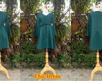 Dark green casual dress / Chic dress/ Hand-made/ Made to order/ Cotton Dress/Sleeve Bell/V-shaped /Plus Size XS-5XL