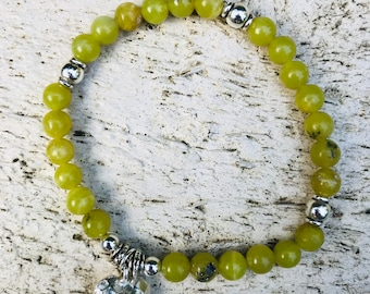 Olive Jade Gemstone Beaded Bracelet with pure silver hammered heart charm