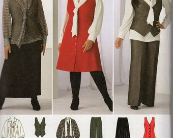 Simplicity 2566 Sewing Pattern Free Us Ship Khaliah Ali Collection Dress Vest Pants Blouse Skirt  Size 10 12 14 16 18 Bust 32 34 36 38 40