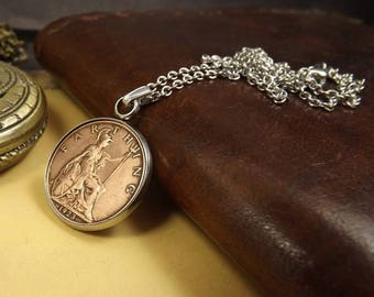 "1923 British Farthing Stainless Steel Bezel Set Coin Necklace on 17.5"" Chain, 95th Birthday Gift"
