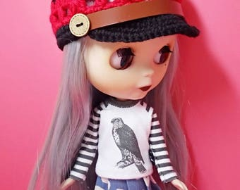 "12"" blythe doll hat crochet button cap red"