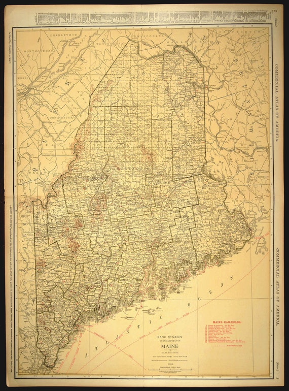 Maine Map EXTRA LARGE Maine Railroad Map Wall Art