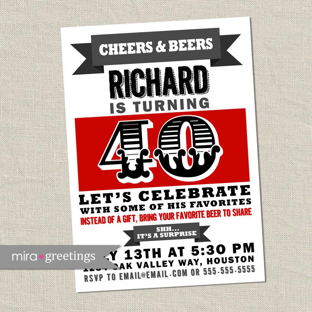 Beer Birthday Party Invitation - Printable Digital File