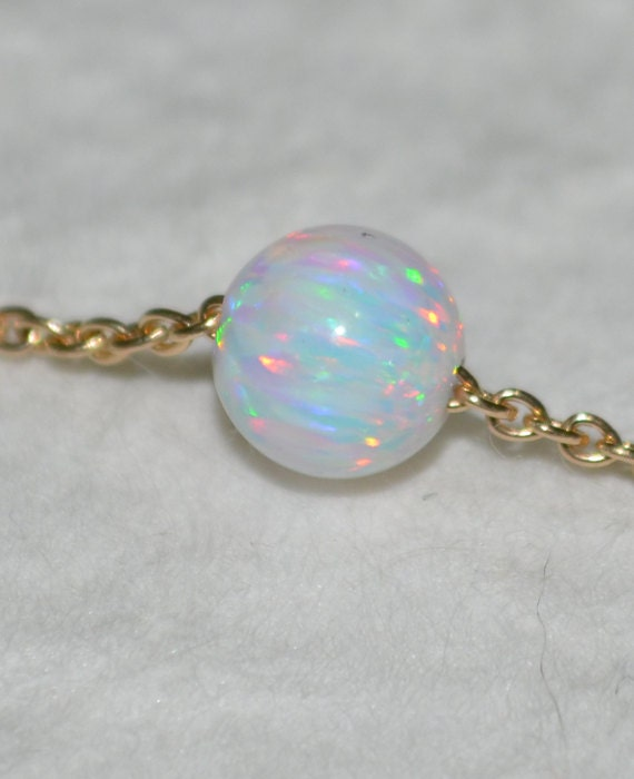 White Opal necklace, Opal Jewelry, opal ball/bead necklace, opal Gold necklace, simple/elegant tiny dot necklace