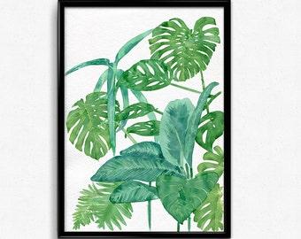 Tropical leaves print, Printable wall art, watercolor illustration, Printable art, Living room wall art, bedroom decor, tropical art