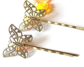 2 bronze Butterfly Bobby pins to customize 55x2mm