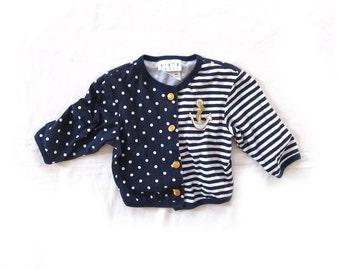 vintage shirt 80s girls childrens clothing nautical 1980s anchor polka dot striped navy blue size 5