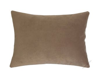 Tan Velvet Suede Decorative Throw Pillow Cover / Pillow Case / Cushion Cover / 12x16""