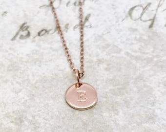 Rose Gold Initial Necklace, Capital Letter, Personalized Jewelry, Letter E Necklace, All Letters Available, Mother's Necklace, Hand Stamped