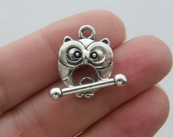 4 Owl toggle clasps antique silver tone FS77