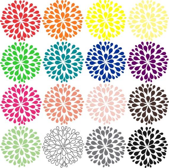Flower Clip Art Dahlia 16 Different Colored Flowers As Transparent Images Clipart