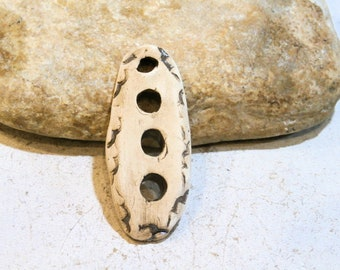 spring, ethnic, primitiv, earthy, tribal, handmade ceramic pendant, diy, supply, headpin, beige, holes, component