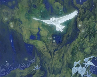 "8""x10"" Limited Edition archival art print ""Spirit Portal"" / watercolor owl, fairy art, green wall art, forest painting, fairy print, blue"