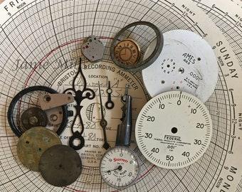 Machinist gauges, tester, dials, watch and clock parts, paper ammeter chart