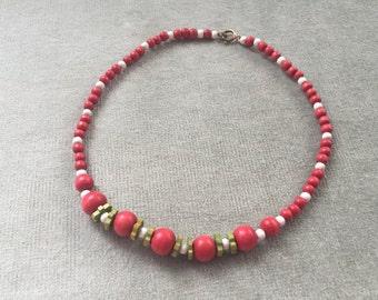 Art Deco Czech Wood Beads Necklace