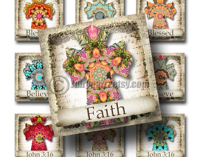SHABBY FLORAL Cross w/ affirmations, 1x1 square images, Printable Digital Images, Cards, Gift Tags, Stickers, Scrabble Tiles, Magnets