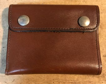 Vintage 1980's Leather Chain Wallet Brown Folding