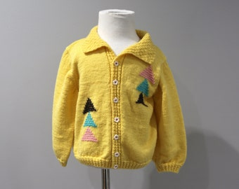 Vintage Cardigan Sweater Toddler Girls Size 2T Yellow Hand Knit Triangles