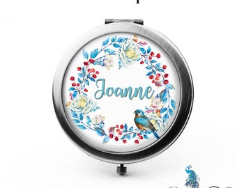 Compact Mirror Berries Flowers and Bird Floral Wreath The Joanne Bridesmaid Gifts Cosmetic Mirror Personalized Gifts Birthdays Ladies Women