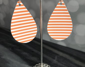 Creamsicle Earrings- Orange And White Striped Earrings- Striped Earrings- Handmade Earrings- Dangle Earrings- Statement Earrings
