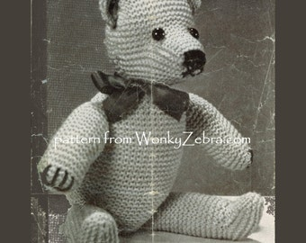 Vintage teddy toy knitting Pattern PDF 532 from ToyPatternLand WonkyZebra