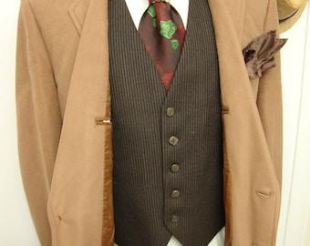 Vintage 1960s PALM BEACH Vegas Dinner Velvet Suede Union Made Blazer Mens Light Caramel Suit Jacket  / Sport Coat - Size 40R/ Medium /Med /M