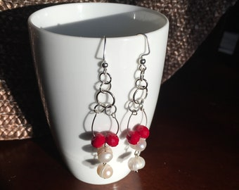 Long Dangle Earrings with Fresh Water Pearls