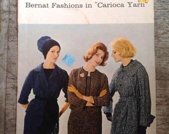Vintage 1961 Bernat Fashions in Carioca Yarn Knitting Pattern Book