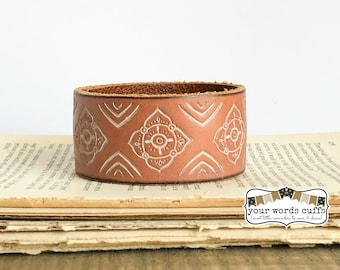 your words cuffs - custom hand stamped leather belt bracelet - personalized with your words - tan embossed white - leather cuff