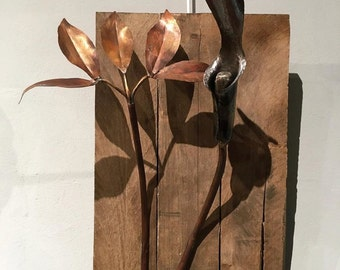Japanese Jack-in-the-Pulpit (Circumcised) in Forged Steel -mounted wall art -metal wall art -steel art