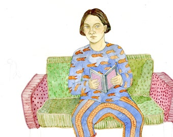Handmade Original Watercolor Painting, Original Art, Book Art, Fine Art, Small Wall Art, Cute, Kitsch - Girl on Couch