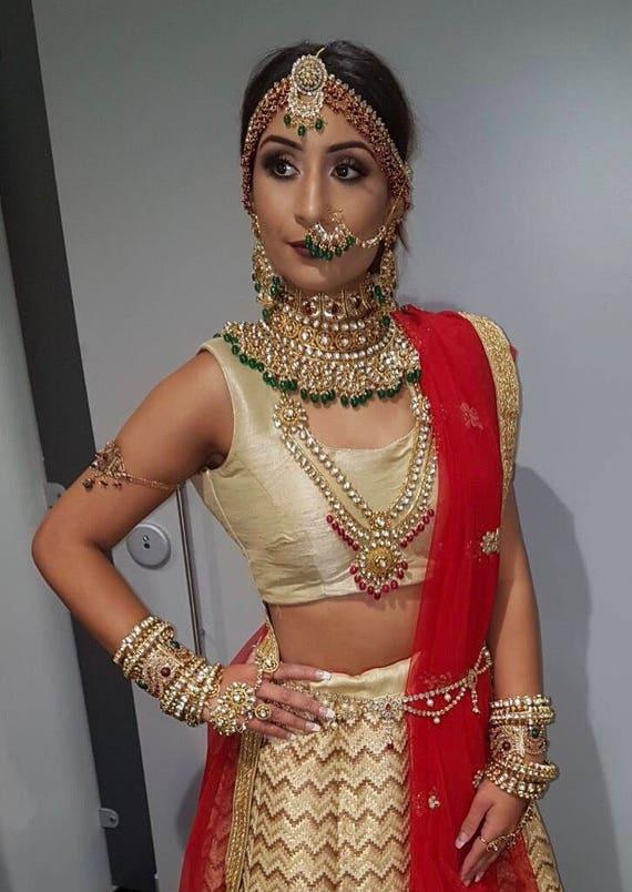 Hariyali Gold & green kundan large nose ring, screw nath, classic bridal jewellery