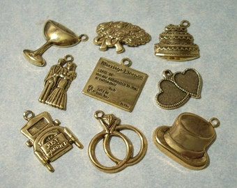 9pc Gold Wedding Invitation Embellishments, Wedding Charms, Wedding Stampings, Scrapbooking Charms, Greeting Card Embellishments