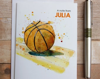 Personalized Basketball Note Cards, Watercolor Basketball Card, Thank You Note, Basketball Teammate Gift, Basketball Coach Gift