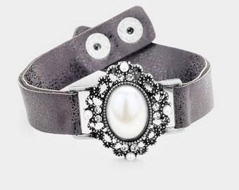Pearl Accent Fashion Strap Bracelet