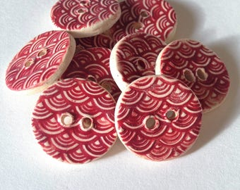 Ceramic Buttons, Textured Buttons, Wave Buttons, Round Clay Buttons, Sewing Buttons,  Pottery Buttons, Red Buttons, Price Per Button