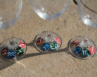 Wine Glass Charms - Set of 12 - Bright Zodiac Signs - All Zodiac Signs Included