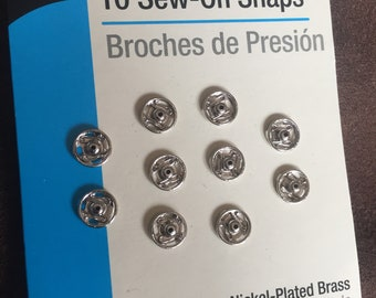 10 Sew-On Snaps Nickel plated
