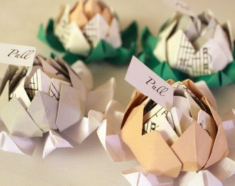 One Hundred (100) Origami Lotus Blossom Favours with Personalized Message (Sheet Music Accent) -Alternative Wedding Flowers