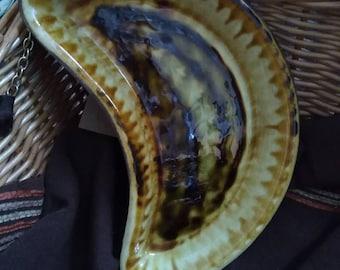 Vintage Portmadoc Welsh pottery kidney shaped dish 1970s retro