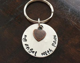 My Angel With Paws - Hand Stamped Pet Memorial Keychain