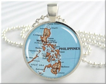 Philippines Map Pendant, Resin Charm, Philippine Islands Map Necklace, Picture Jewelry, Round Silver, Gift Under 20, Map Charm 607RS