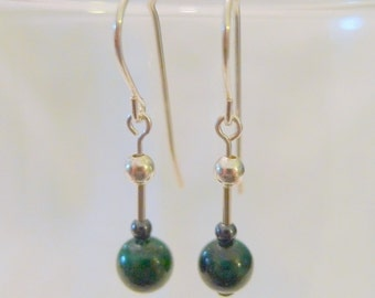 Malachite and Hematite Sterling Silver Dangle Earrings