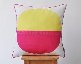 "Modern Decorative Pillow, Geometric Pillow, Throw Cushion, Nursery Pillow, Kids Pillow, Cushion Cover, Hot Pink & Yellow 16"" x 16"""