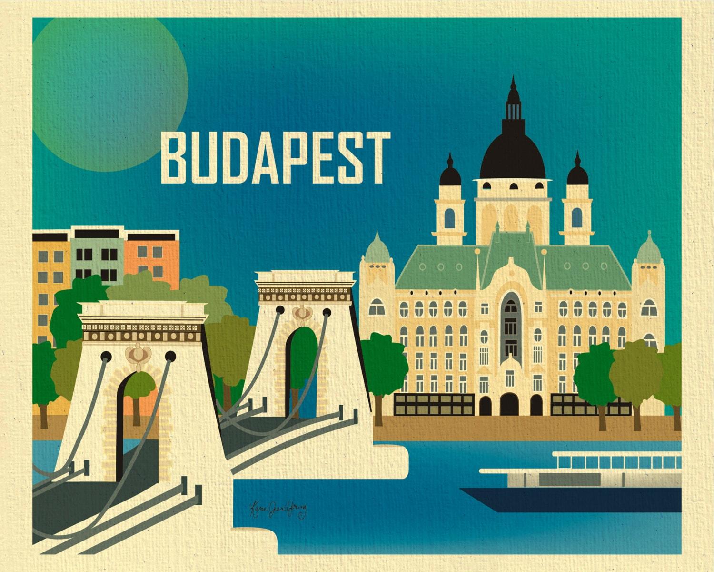 Budapest Skyline Art Print Chain Bridge Hungary Travel