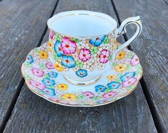 Royal Albert 1118 Floral Crown China Cup and Saucer Set England Vintage Tea Party Pastel Pink Lavender Blue Yellow Flowers