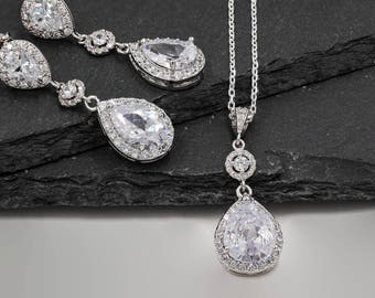 Wedding jewellery set, made with cubic zirconia Crystal with pear drop earrings, in Sterling silver or rose gold