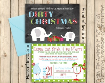 Dirty Christmas Invitation, White Elephant, Holiday Work Party, Gift Exchange, Dirty Santa, Festive Invite, Be Merry, Printed or Digital