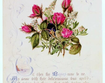 Vintage Floral Pink Roses and Verse Botanical, Bookplate Illustration, Print for Framing, Rose Bouquet with Embellishments, Ornate Type