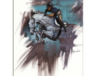 Show Jumper Print- Matted Print of Original Custom Oil Painting, Animal Art, Horses, Riders, Show Jumpers, Equine Print, Equestrian Print